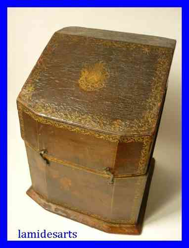 LEATHER PAPER BOX WITH MARQUIS CROWN 1750 - 1800