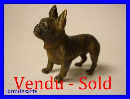 FIGURINE BRONZE DE VIENNE 1880 CHIEN BOULEDOGUE