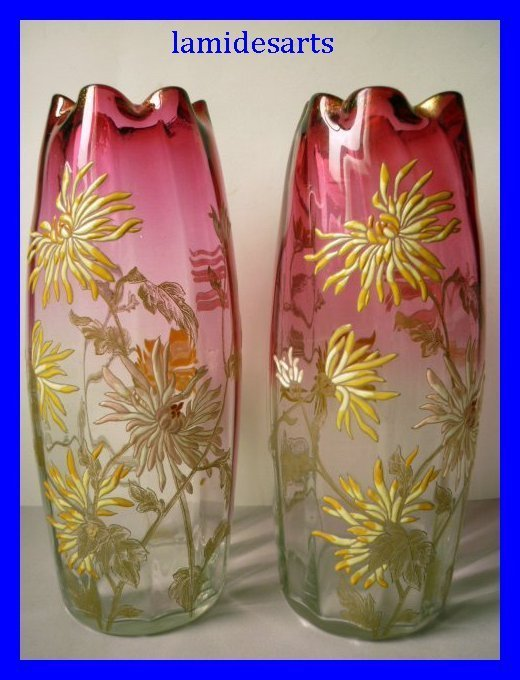 pair of legras montjoye enamel vases 1900 30 cm. Black Bedroom Furniture Sets. Home Design Ideas