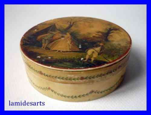 Antique lacquer ivory box hand painted 1780 - 1820