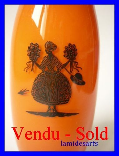 GERMAN ENAMELED GLASS VASE 1920 - 1930