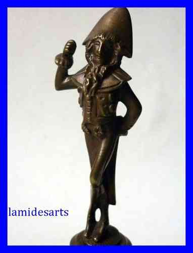 "FIGURINE BRONZE "" INCROYABLE "" SOCLE MARBRE NOIR XIX SIECLE"