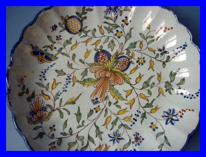 assiette faience nevers decor fleurs montagnon 1880. Black Bedroom Furniture Sets. Home Design Ideas