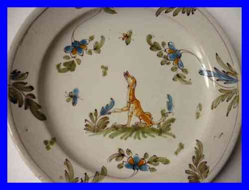 ASSIETTE FAIENCE XVIII SIECLE MARTRES TOLOSANE MOUSTIERS