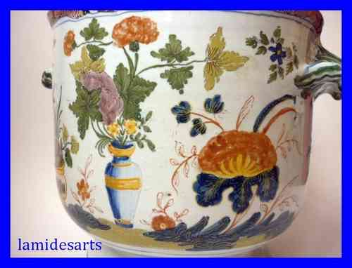 XVIIIth CENTURY EARTHENWARE ROUEN OR SINCENY FLOWER POT