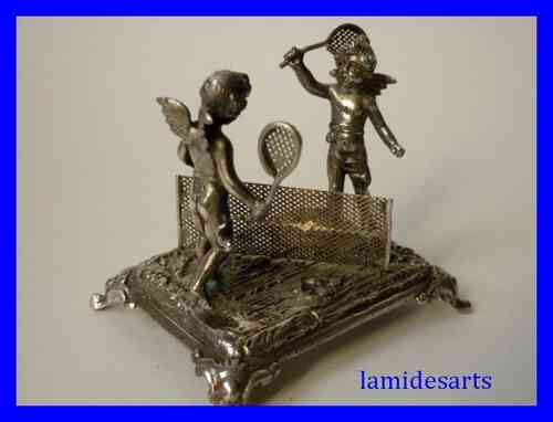 STERLING SILVER FIGURINE ANGELS PLAYING TENNIS 1900 - 1920