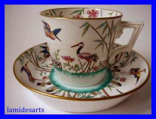 Rare MINTON porcelain coffee cup and saucer Aesthetic Movement 1872