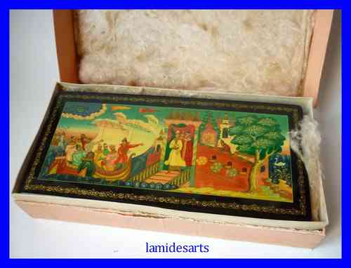 Hand Painted Russian Mstera Lacquer Box 1978