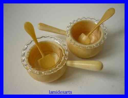 PAIR OF IVORY SALTS + IVORY SPOONS 1880