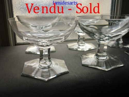 VSL VAL SAINT LAMBERT CRYSTAL SET 6 CHAMPAGNE GLASSES