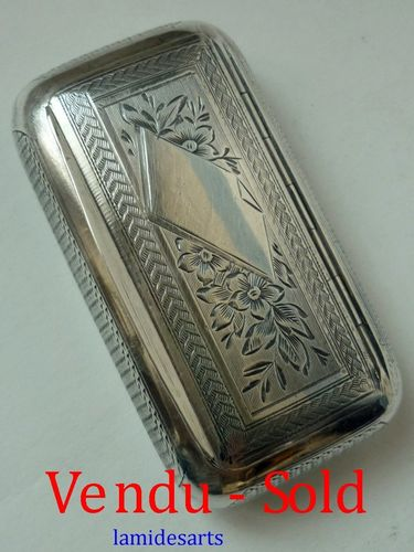 ANTIQUE STERLING SILVER SNUFF BOX  1870 - 1890