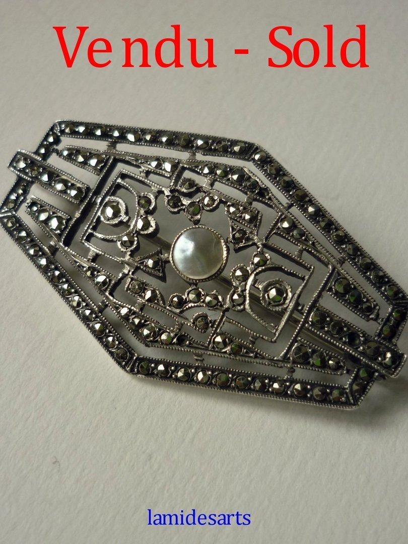 broche argent marcassittes perle art deco 1920 - 1930