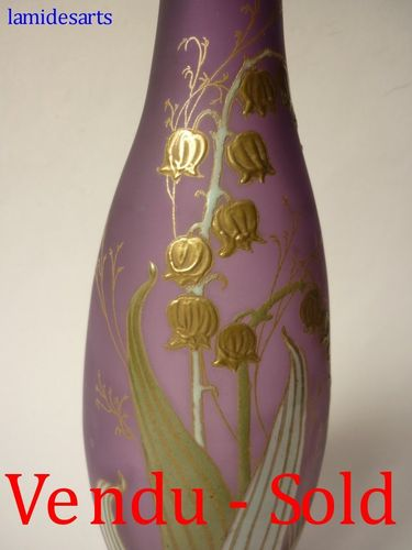 LEGRAS ENAMELED VASE LILY OF THE VALLEY