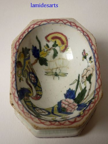 SALERON SALIERE FAIENCE GIEN DECOR ROUEN 1870 - 1900