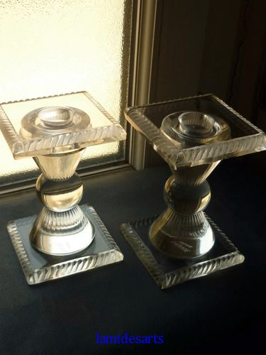 RENE LALIQUE PAIR CANDLESTICKS 1927 - 1947