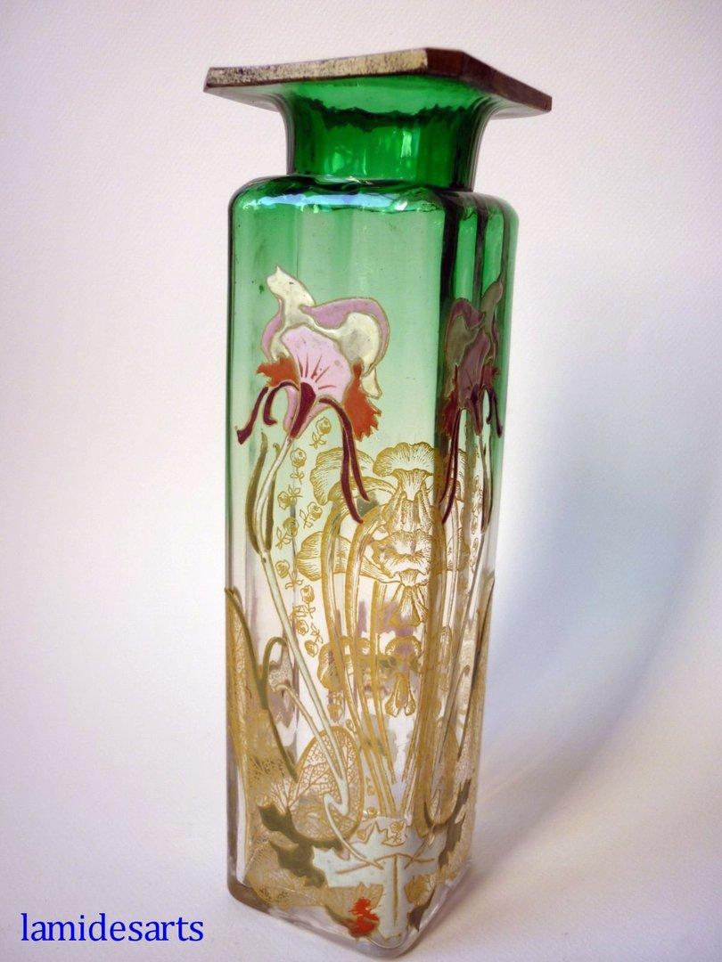 vase verre emaille legras montjoye art nouveau 1900. Black Bedroom Furniture Sets. Home Design Ideas