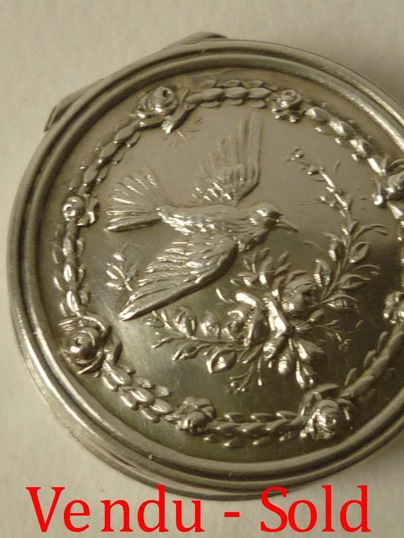 French Solid Silver Pill Box Bird With Roses