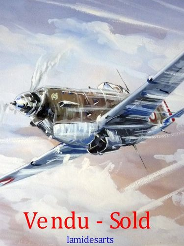 GOUACHE ORIGINALE AVIATION AVION MORANE signée et datée 1942