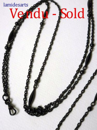 Blackened steel mourning chain about 150 cm  period 1850 - 1900
