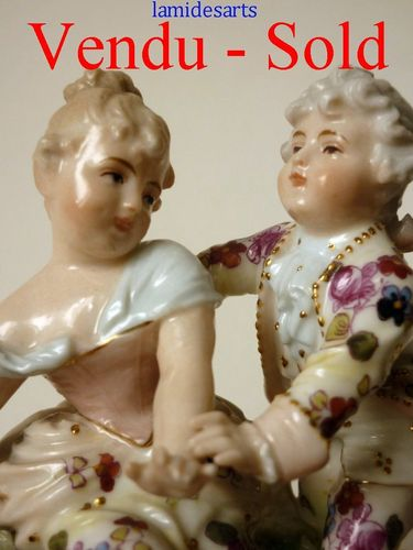 Volkstedt Rudolstadt German porcelain figurine depicting a young couple 1890 - 1920