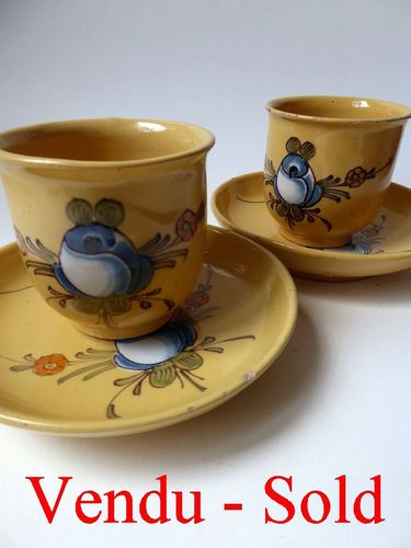 FRENCH MONTPELLIER EARTHENWARE PAIR CUPS AND SAUCERS 1790 - 1805
