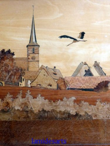 CHARLES SPINDLER wood marquetry Alsacian landscape with stork