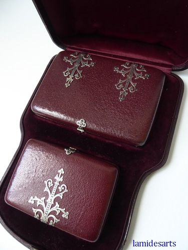 RED LEATHER AND NIELLO SILVER CARNET DE BAL DANCE CARD AND PURSE 1850 - 1870  boxed
