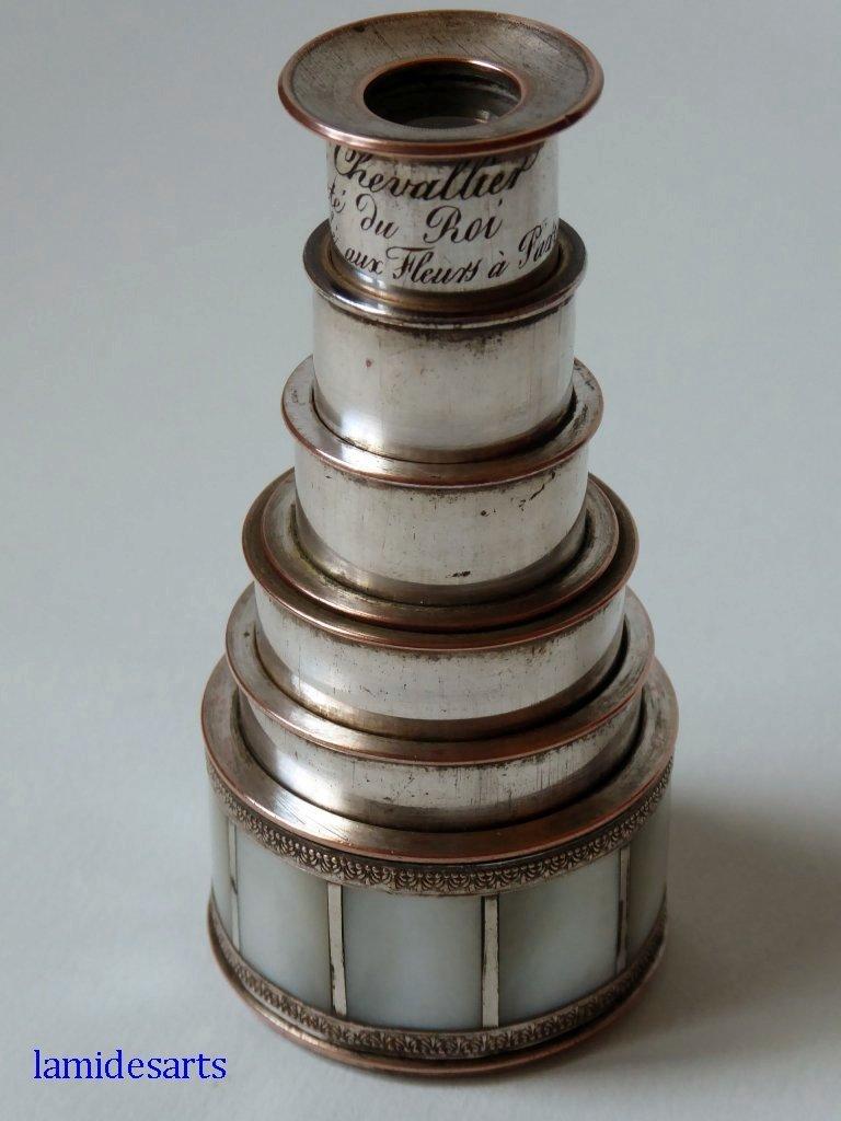 longue vue jumelles lorgnette de theatre nacre laiton dore chevallier 1830. Black Bedroom Furniture Sets. Home Design Ideas