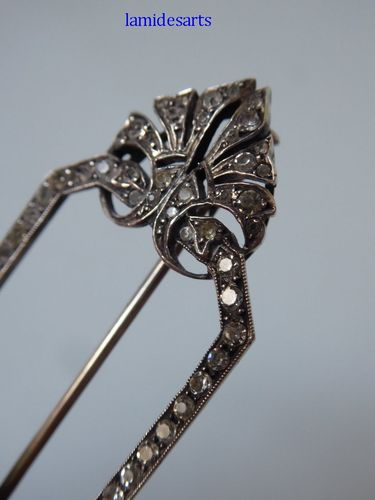 FRENCH SILVER BROOCH WITH RHINESTONES 1900 - 1920