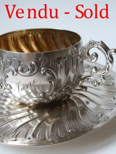 SUPERB STERLING SILVER CUP AND SAUCER Moussani Storm Paris 1897