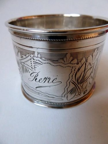 "STERLING SILVER NAPKIN RING "" PIERRE """