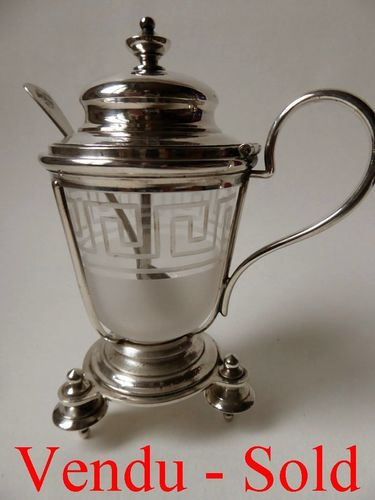 CHRISTOFLE SILVER PLATED & BACCARAT CRYSTAL MUSTARD POT 1880's