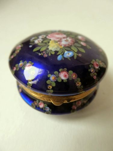 1880's enamel and gilt brass box painted with flowers