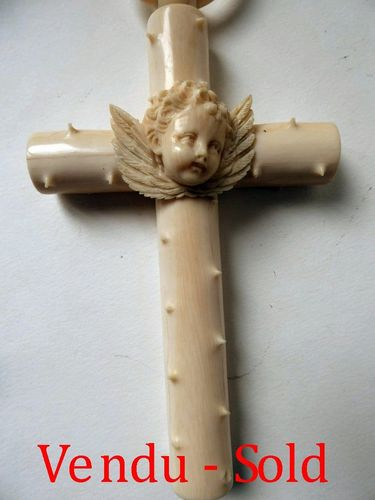 1850's SOLID IVORY HOLY CROSS WITH CHERUB