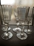 SET OF 5 XVIII CENTURY FOOTED GLASSES