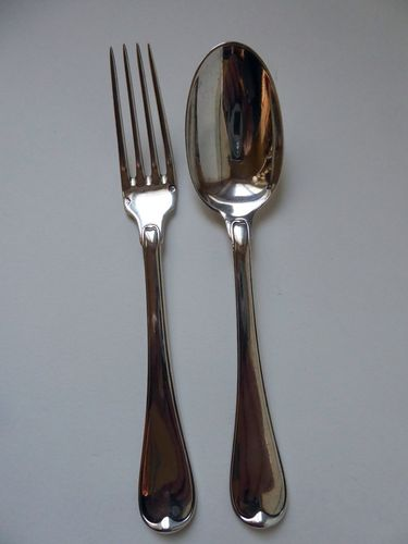 FRENCH SILVER FORK AND SPOON FOR A CHILD ALPHONSE DEBAIN 1883 - 1911