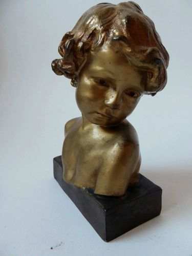 JEAN MARIE CAMUS ART NOUVEAU BRONZE CHILD YOUNG GIRL 1903