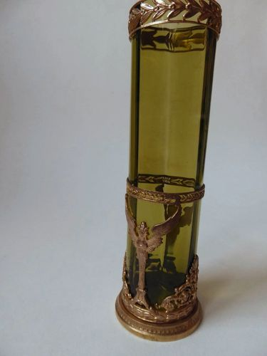 ANTIQUE GILT BRONZE & GREEN CRYSTAL VASE  FRENCH EMPIRE STYLE NAPOLEON III PERIOD