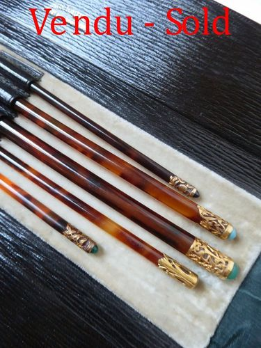 Set of crochet hook knitting needles tortoise shell with 18 carats gold set with cabochons AUX TORTU
