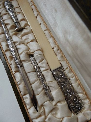 ART NOUVEAU 800 SILVER WRITING SET PENHOLDER  LETTER OPENER AND SEAL mistletoe