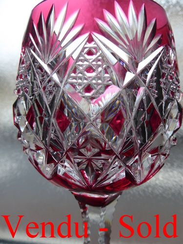 SAINT LOUIS FLORENCE CRYSTAL COLOURED RHINE WINE GLASS ROEMER RED RUBIS