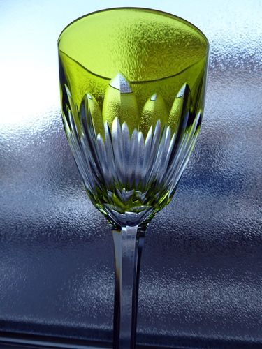 BACCARAT CASSINO CRYSTAL HOCK WINE GLASS ROEMER PALE GREEN
