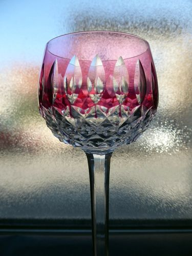 SAINT LOUIS SYLVANER CRYSTAL COLOURED RHINE WINE GLASS ROEMER RED