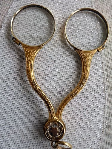 Gilt Solid Silver Folding Lorgnette Glasses 1830 - 1840 King Louis Philippe Period
