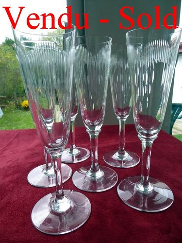 RARE SET OF 6 BACCARAT MOLIERE CRYSTAL FLUTED CHAMPAGNE GLASSES 1916