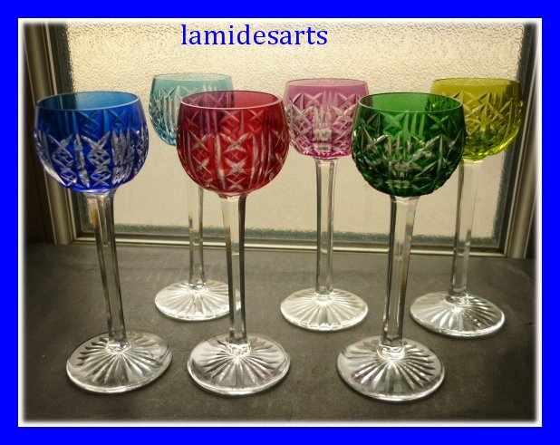 6 verres a liqueur en couleurs cristal de saint louis. Black Bedroom Furniture Sets. Home Design Ideas