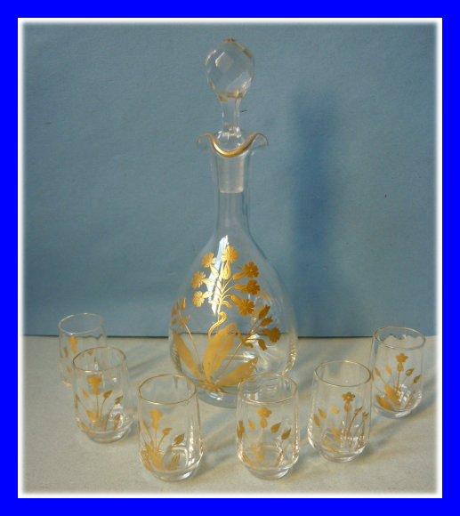 cristal de baccarat service a liqueur carafe 6 verres dores 1900. Black Bedroom Furniture Sets. Home Design Ideas