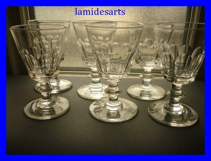6 Verres En Cristal De Saint Louis Caton 11cm 1880