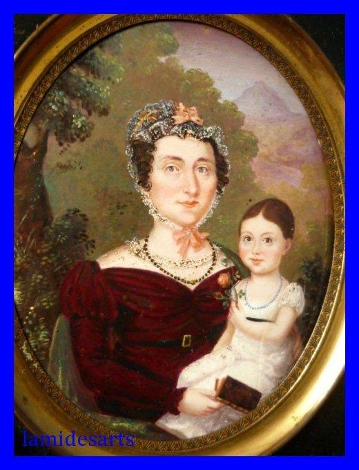 Miniature sur email mere et jeune fille a la rose 1830 for Peinture sur email