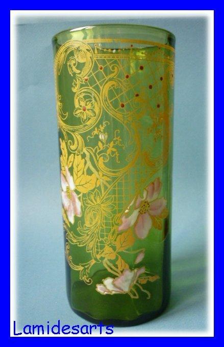 Montjoye Legras Glass Vase Enameled Roses 1900
